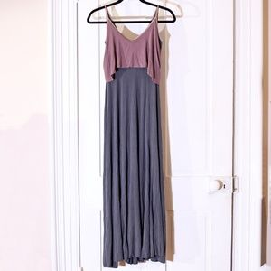 UO Layered Look Purple & Gray Jersey Maxi Dress